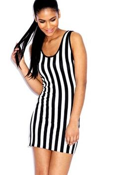 Olivia Striped Sleeveless Vest Dress