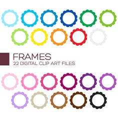 Scallop Circle Frame Clipart for Personal & by coloryourway