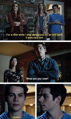 Oh, Stiles. Teen Wolf - Stiles and Liam Stiles Teen Wolf, Teen Wolf Mtv, Teen Wolf Dylan, Teen Wolf Cast, Teen Wolf Isaac, Memes Teen Wolf, Teen Wolf Quotes, Teen Wolf Funny, Dylan O'brien Quotes