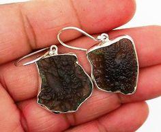 moldavite earrings Silver 925 Sterling Jewelry natural gemstone handmade 7.2 gm