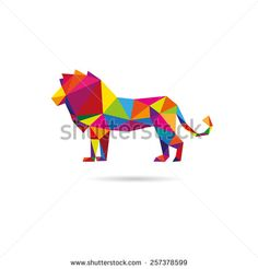 Lion abstract isolated on a white backgrounds, vector illustration  - stock vector