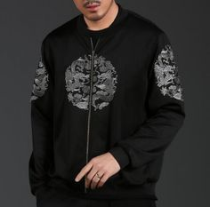 Chinese style dragon bomber jacket for men
