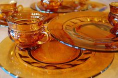 "cobblestonesvintage: "" 6 Amber Glass Buffet Snack Sets, Indiana Glass Orange King's Crown Thumbprint Party Sets for Autumn Fall Serving, 12 pieces, Wedding Gift "" Kitsch, Amber Room, Dessert Glasses, Tennis Set, Party Buffet, Indiana Glass, Lunch Snacks, Vintage Gifts, Vintage Shops"