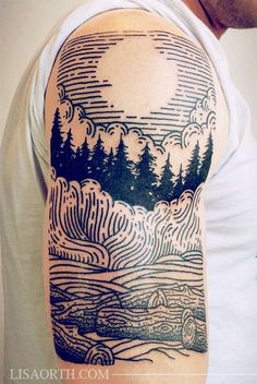 LOVE this one. Really love the use of the negative space for the moon, the contrast of the filled evergreen trees, and the graceful flowing lines at the bottom. (Linework Engraving Etching Tattoo by Lisa Orth