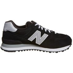 New Balance M 574 Trainers ($115) ❤ liked on Polyvore featuring shoes, sneakers, round toe shoes, synthetic leather shoes, new balance, leather shoes and leather trainers
