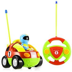 Stoga RC Cartoon Race Car with Action Figure Radio Control Toy with Music Best Christmas Gift for Toddlers Kids-random color(red,green)