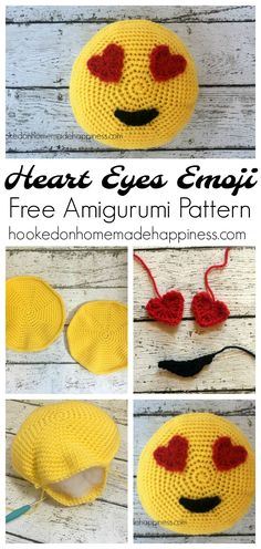 Heart Eyes Emoji Amigurumi Pattern - Hooked on Homemade Happiness Crochet Mittens Pattern, Crochet Animal Amigurumi, Crochet Pillow, Crochet Animals, Crochet Dolls, Knitting Patterns Free, Amigurumi Doll, Free Pattern, Hello Kit