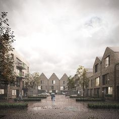 Image 1 of 2 from gallery of Hawkins\Brown Designs Housing Scheme in Rotherhithe. Photograph by Forbes Massie Architecture Visualization, 3d Visualization, Architecture Drawings, Residential Architecture, Landscape Architecture, Architecture Design, Forbes Massie, Cgi, Architect House