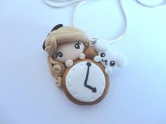 necklace Alice in wonderland kawaii cute polymer clay doll clock whiterabbit
