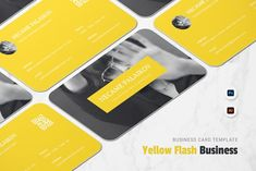 Cool Business Cards, Design Bundles, Typography, Make It Yourself, Yellow, Simple, Card Templates, Illustrator, Masks