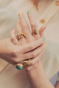 pastel polish and gorgeous gold rings