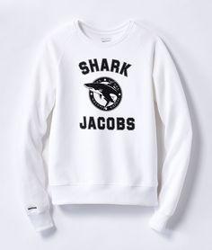 Shark Jacobs Sweatshirt  Sweatshirt aus 100% fair gehandelter Baumwolle mit Print. Made in Portugal. Erhältlich in grau und weiß.