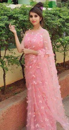 Designer Net Butterfly Saree Drape this amazing saree in your own way. Let it define your true Elegance and simplicity.Drape this amazing saree in your own way. Let it define your true Elegance and simplicity. Saree Designs Party Wear, Party Wear Sarees, Saree Blouse Designs, Modern Blouse Designs, Chiffon Saree Party Wear, Simple Sarees, Trendy Sarees, Stylish Sarees, Sari Design