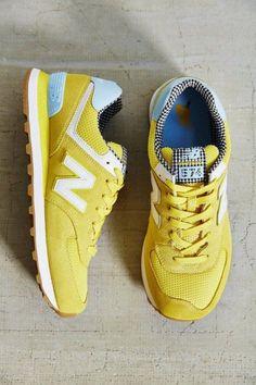 sale retailer 75477 962ff New Balance 574 Yellow Suede Mesh Trainers   NB   Sapatilhas, Sapatilhas new  balance, Sapatos