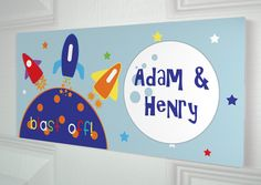 Space Rocket Children's Wooden Name Door Plaque Personalised Sign Kids Boys