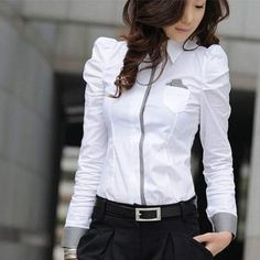 Ladylike Style Color Block Puff Sleeve Pleated Shirt Neck Slimming Shirt For Women White Shirts Women, Blouses For Women, White Women, Mode Outfits, Fashion Outfits, Fashion Blouses, Ol Fashion, Dress Fashion, Fashion Women