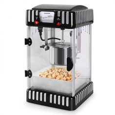 Volcano Popcorn Machine Stainless Steel Kettle Black - Whenever someone plans a movie night, the question of snacks always arises. With the Klarstein Volcano popcorn machine, the answer is quickl Movie Theater Snacks, At Home Movie Theater, Popcorn Cart, Popcorn Maker, Popcorn Wie Im Kino, Stainless Steel Kettle, Homemade Popcorn, Presents For Boys, 1950s Design