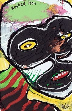 Original LABEDZKI Abstract Painting Outsider Art Masked Man 5 5x8 5 Inches | eBay
