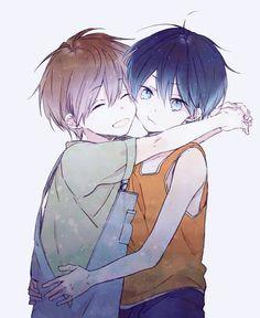 Fanart of Young Makoto hugging Young Haru (awkwardly?)