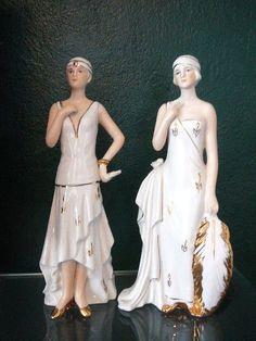 Art Deco Flapper Girl Vintage Figurines.