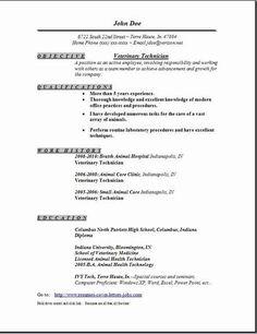 veterinary technician resume - Veterinary Technician Sample Resume