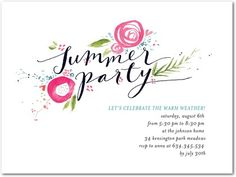 Party Invitations Inspired Garden - Front : Begonia