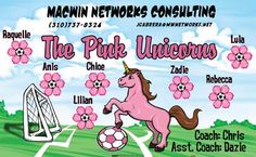 Unicorns-Pink-40486 digitally printed vinyl soccer sports team banner. Made in the USA and shipped fast by BannersUSA. www.bannersusa.com