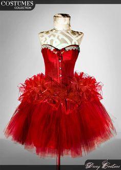 COSTUME Burlesque ROSSO, con effetto luminoso! Corsetto vittoriano, prom dress, corsetto rosso, gonna in tulle