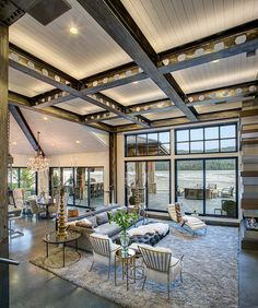 River House on the Pend Oreille River outside Sandpoint, Idaho.by Jon R. Sayler---oh the ceiling! Lofts, Small Living Rooms, Living Room Designs, Future House, My House, Porches, Interior Exterior, Interior Design, Interior Decorating