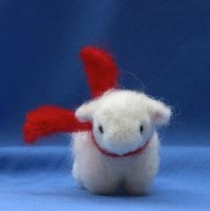 Little White Lamb Wearing Bright Red Scarf. Needle felted wool baby animal by merryuncanny for $18.00