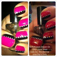 """""""circus ringmaster"""" nails, using SinfulColors Dream On (pink), Orly Liquid Vinyl (black), nails inc. the donmar (red/green flaky topcoat), and cina Dip'n Dots.    sorry for the photo quality, I used my iPhone camera."""