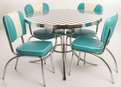 1950 turquoise kitchen warehouse | West Side Set - Aqua & White finish Chairs and Black & White Checkered ...