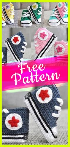 Baby booties CONVERSE croche patternt