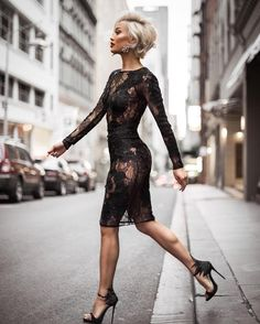 For an ensemble that provides practicality and fashion, go for a black lace bodycon dress. Black embellished suede heeled sandals will infuse an air of sophistication into an otherwise standard outfit. Sexy Outfits, Sexy Dresses, Beautiful Dresses, Cute Outfits, Fashion Outfits, Womens Fashion, Lace Dresses, Fashion Boots, Party Dresses