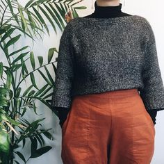 the lightest cloud of a sweater (pattern is curvo by + gloomy day pick-me-up indra pants (✂️ = a pretty cozy… Gloomy Day, Pick Me Up, Diy Clothes, Turtle Neck, Clouds, Knitting, Crochet, Knits, Pretty