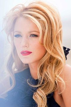 Blake Lively is perfection in simple waves and glam makeup.