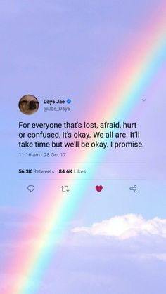 Find images and videos about sky, wallpaper and rainbow on We Heart It - the app to get lost in what you love. Tweet Quotes, Twitter Quotes, Instagram Quotes, Bts Quotes, Mood Quotes, Lyric Quotes, Positive Quotes, Motivational Quotes, Inspirational Quotes