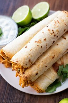 Creamy Oven Baked Chicken Taquitos with Cilantro Cream Dipping Sauce