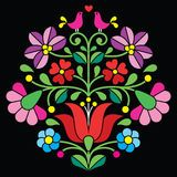 Kalocsai Red Embroidery - Hungarian Floral Folk Pattern With Birds - Download From Over 53 Million High Quality Stock Photos, Images, Vectors. Sign up for FREE today. Image: 53177811