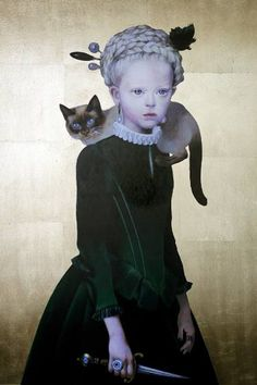 """Saatchi Art Artist Titti Garelli; Painting, """"YOUNG QUEEN WITH A CAT"""" #art"""
