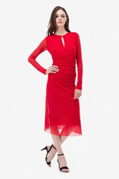 Dress, Red, Jersey, Jersey Dress, Sleeve, Red Dress, Dress Red, Ruched