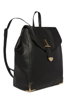 Primark - Black PU Metal Detail Backpack