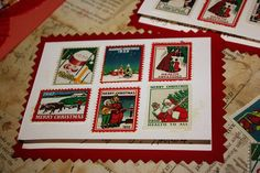 Christmas Cards featuring vintage stamps (sorta)
