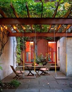 22 ideas for pergola patio backyard gardens Pergola Swing, Pergola Patio, Backyard Patio, Backyard Landscaping, Yard Swing, Steel Pergola, Landscaping Ideas, Wisteria Pergola, Tropical Backyard