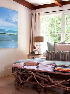 Want that wall art.... love the natural colors in this room. Looks like a relaxing place to spend some time.