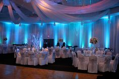 blue lighting for wedding