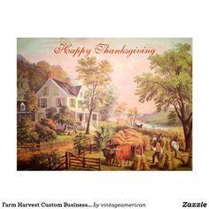 Farm Harvest Custom Business Thanksgiving Postcard