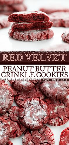 Red Velvet Crinkle Cookies are Valentine's day dessert with festive red coloring and rolled in sugar for added texture and sweetness. It gives you the flavors of a red velvet cake with added peanut butter. These Valentine's day cookies are soft and chewy that everybody loves! Soft Cookie Recipe, Peanut Butter Cookie Recipe, Creamy Peanut Butter, Cookie Recipes, Snack Recipes, Soft Ginger Cookies, Butter Pecan Cookies, Cranberry Cookies, Red Velvet Crinkle Cookies