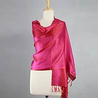 Varanasi silk shawl, 'Banaras Purple' by NOVICA