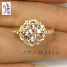Cushion Morganite Engagement Ring Diamond 14K Rose Gold Vintage Floral Design 7mm - Lord of Gem Rings - 1